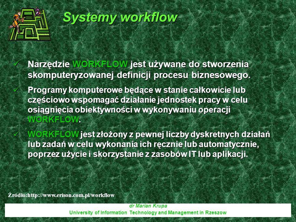 dr Marian Krupa University of Information Technology and Management in Rzeszow Narzędzie WORKFLOW jest używane do stworzenia skomputeryzowanej definic
