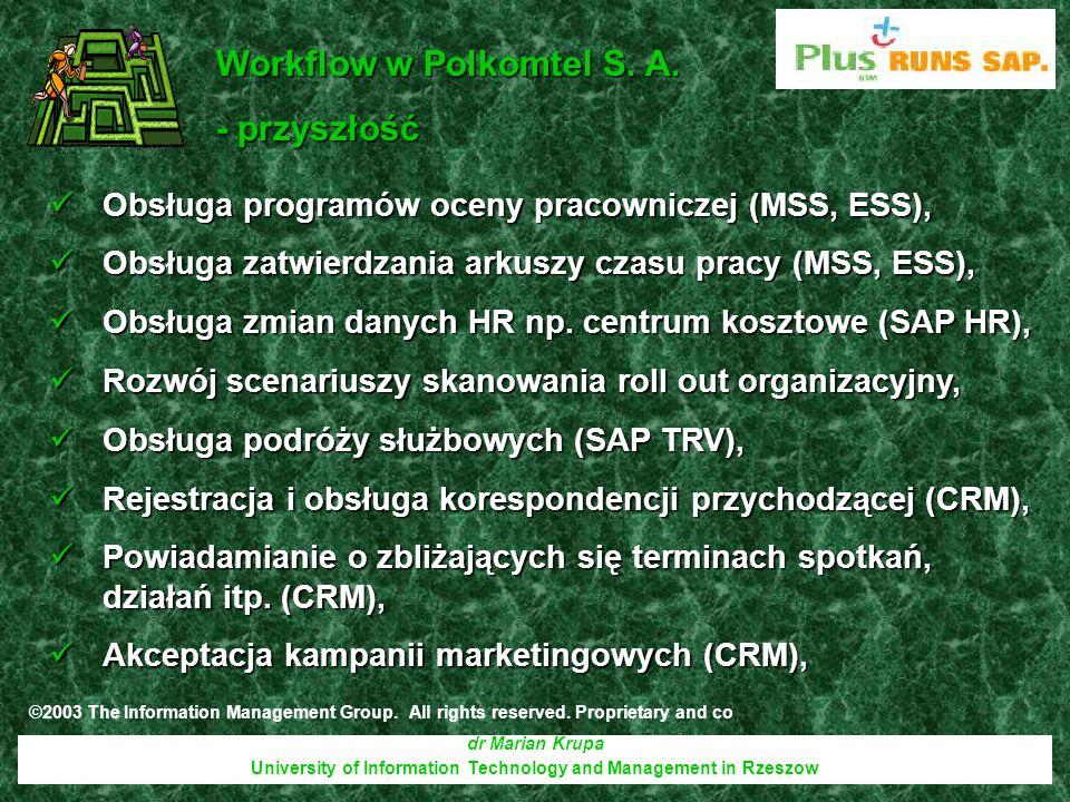 dr Marian Krupa University of Information Technology and Management in Rzeszow Obsługa programów oceny pracowniczej (MSS, ESS), Obsługa programów ocen