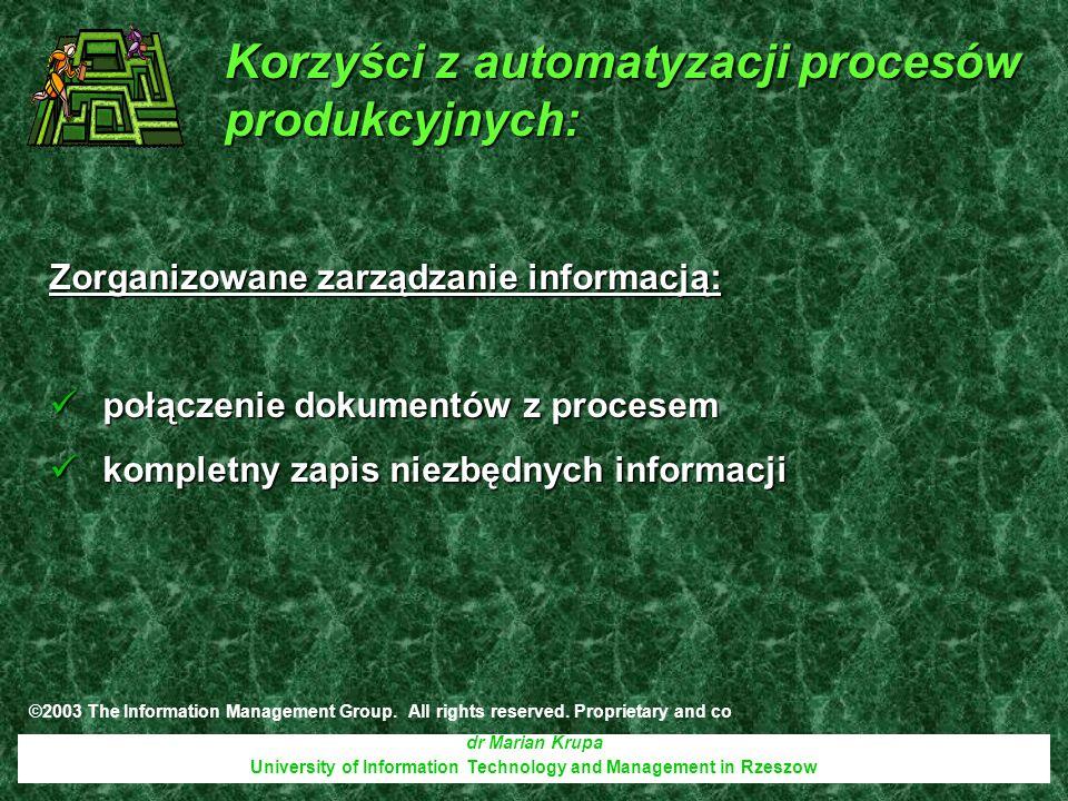 dr Marian Krupa University of Information Technology and Management in Rzeszow Zorganizowane zarządzanie informacją: połączenie dokumentów z procesem