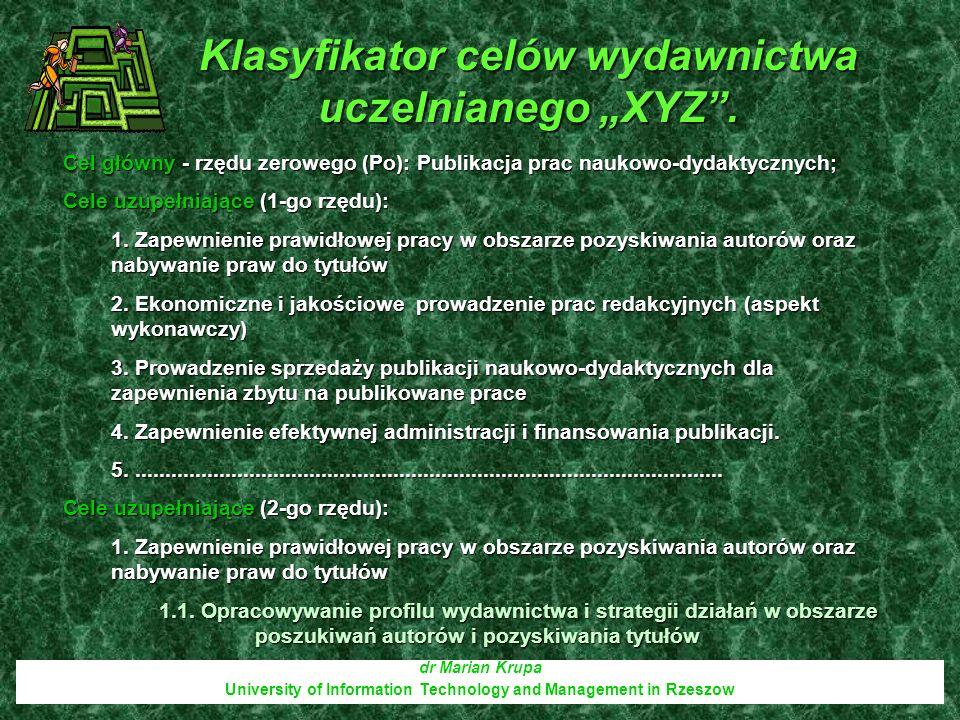 Drzewo celów dr Marian Krupa University of Information Technology and Management in Rzeszow Cel główny - rzędu zerowego (Po): Publikacja prac naukowo- dydaktycznych Cele uzupełniające (1-go rzędu): 1.
