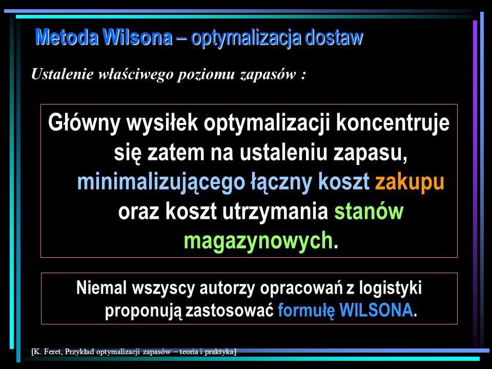 Metoda Wilsona – optymalizacja dostaw Ustalenie właściwego poziomu zapasów : 1)Poziom zapasów przeciętnych w przedsiębiorstwie ma zapewnić płynność sp
