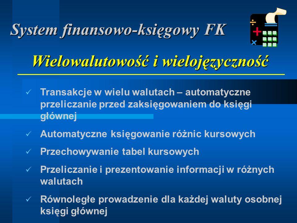 Szczegółowe rozbijanie kosztów i przychodów trakcie rejestracji Księgowanie w podziale na jednostki kosztowe Algorytmy podziału kosztów wspólnych (procentowe, proporcjonalne) Analiza kosztów i przychodów System finansowo-księgowy FK