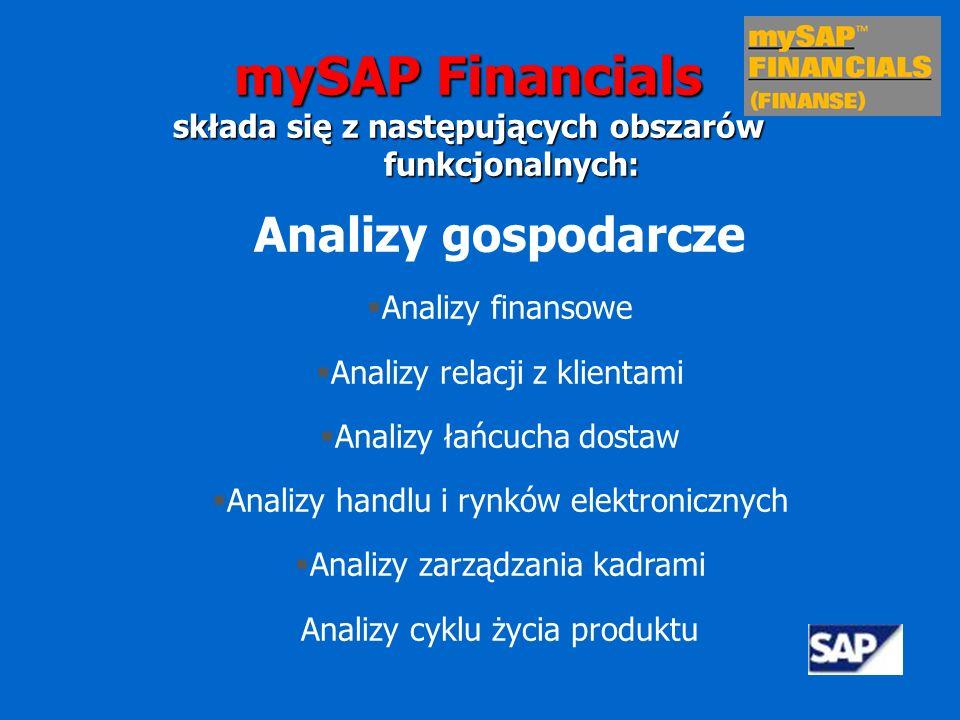 Rachunkowość Sprawozdanie finansowe Księga główne i księgi pomocnicze Rachunek kosztów i przychodów Rozliczanie zadań i projektów Kalkulacja kosztów wyrobów i usług mySAP Financials składa się z następujących obszarów funkcjonalnych: