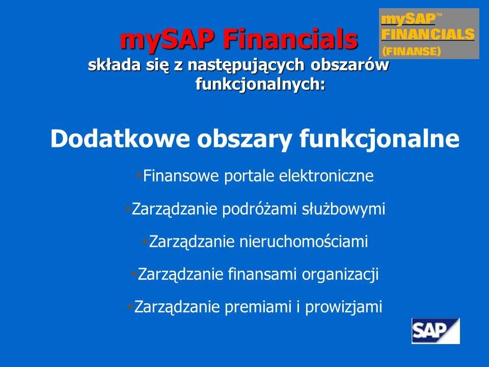 Zarządzanie strategią i organizacją Zarządzanie relacjami z właścicielami kapitału i otoczeniem biznesowym Tworzenie i realizacja strategii Ocena efektywności Planowanie strategiczne i symulacje Konsolidacja mySAP Financials składa się z następujących obszarów funkcjonalnych: