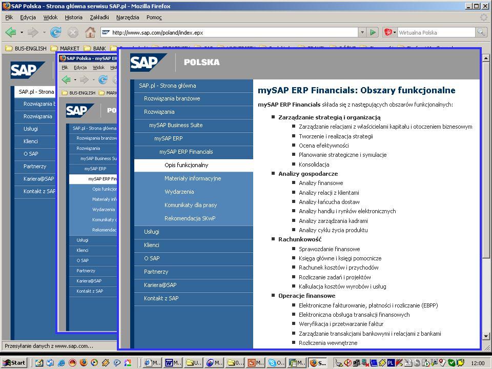 Dodatkowe obszary funkcjonalne Finansowe portale elektroniczne Zarządzanie podróżami służbowymi Zarządzanie nieruchomościami Zarządzanie finansami organizacji Zarządzanie premiami i prowizjami mySAP Financials składa się z następujących obszarów funkcjonalnych: