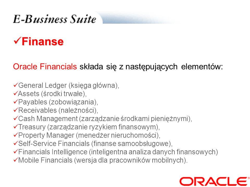 Finanse Finanse Oracle Financials to zintegrowany zestaw sprawdzonych aplikacji do prowadzenia księgowości i zarządzania finansami w nowoczesnym e-biznesie.