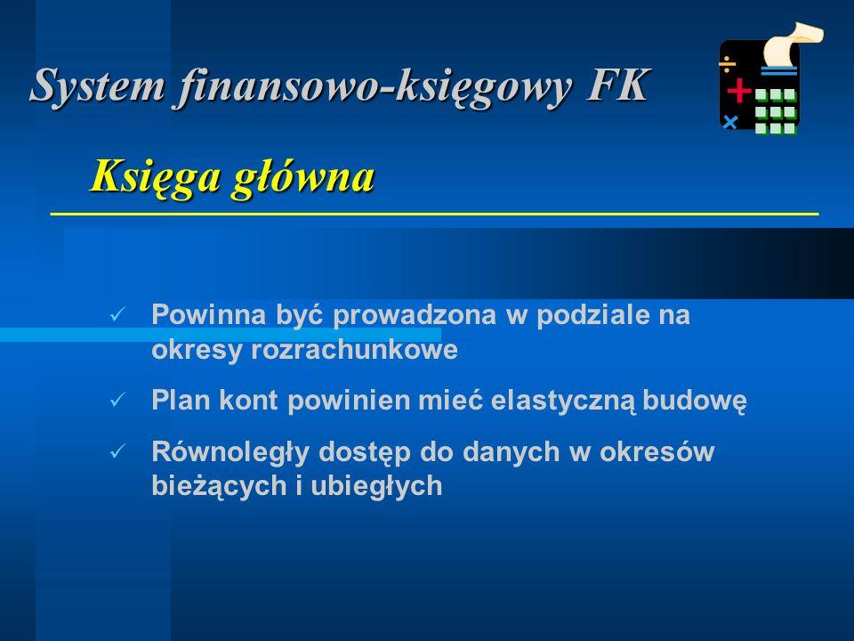 Powinna być prowadzona w podziale na okresy rozrachunkowe Plan kont powinien mieć elastyczną budowę Równoległy dostęp do danych w okresów bieżących i ubiegłych Księga główna System finansowo-księgowy FK