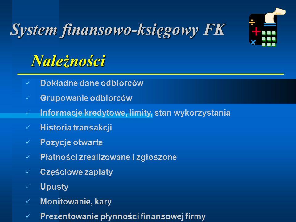Dokładne dane dostawców Tworzenie grup dostawców Historia prowadzonych transakcji Kontrola rozliczeń Kontrola płatności, płatności całkowite, cząstkowe Automatyzacja procesu zapłaty Automatyczne księgowanie w księdze głównej Potwierdzenia salda kontrahentów Zobowiązania System finansowo-księgowy FK
