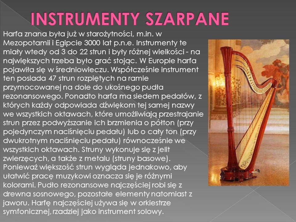 Harfa znana była już w starożytności, m.in.w Mezopotamii i Egipcie 3000 lat p.n.e.