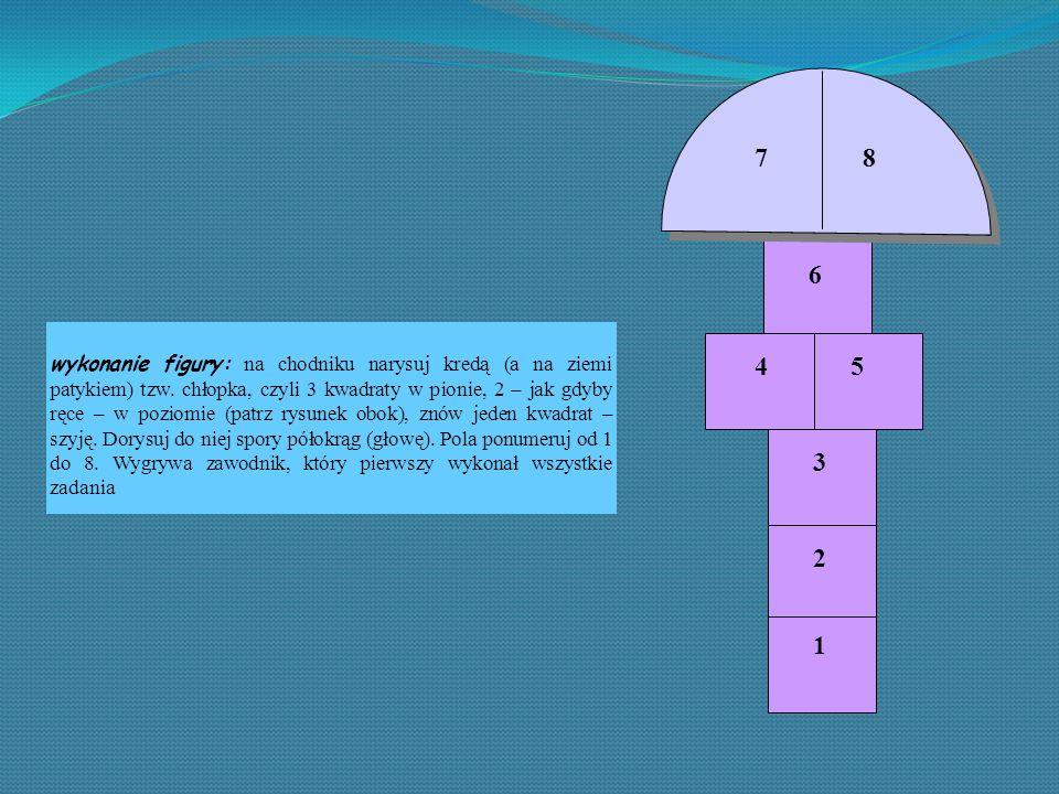 wykonanie figury: na chodniku narysuj kredą (a na ziemi patykiem) tzw. chłopka, czyli 3 kwadraty w pionie, 2 – jak gdyby ręce – w poziomie (patrz rysu