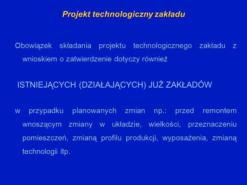 Projekt technologiczny zakładu Obowiązek składania projektu technologicznego zakładu z wnioskiem o zatwierdzenie dotyczy również ISTNIEJĄCYCH (DZIAŁAJ