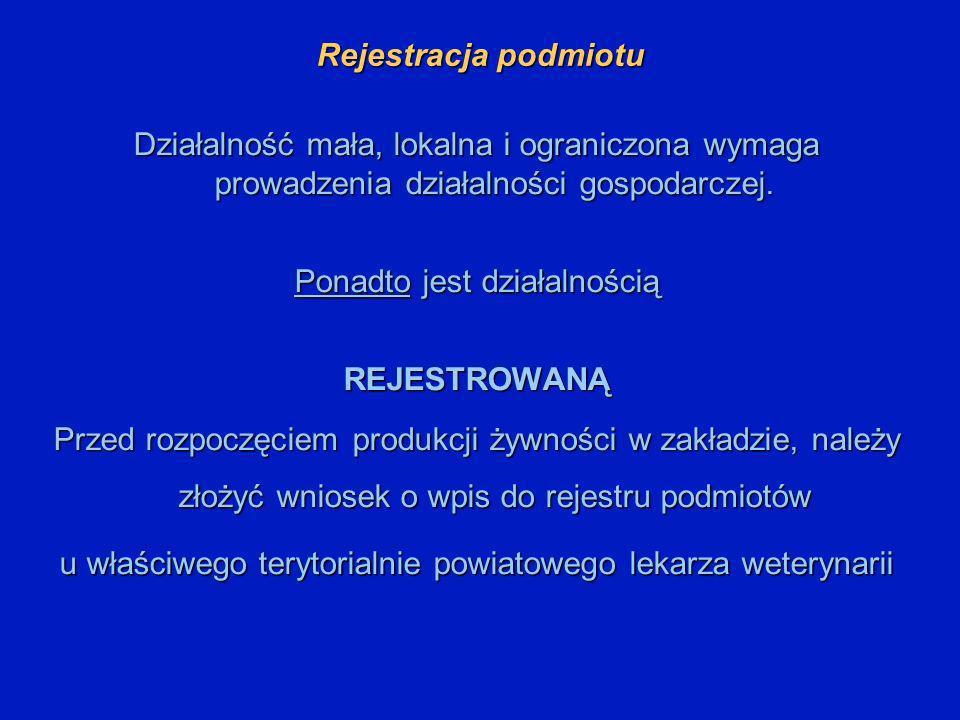 Rejestracja podmiotu Działalność mała, lokalna i ograniczona wymaga prowadzenia działalności gospodarczej. Ponadto jest działalnością REJESTROWANĄ Prz