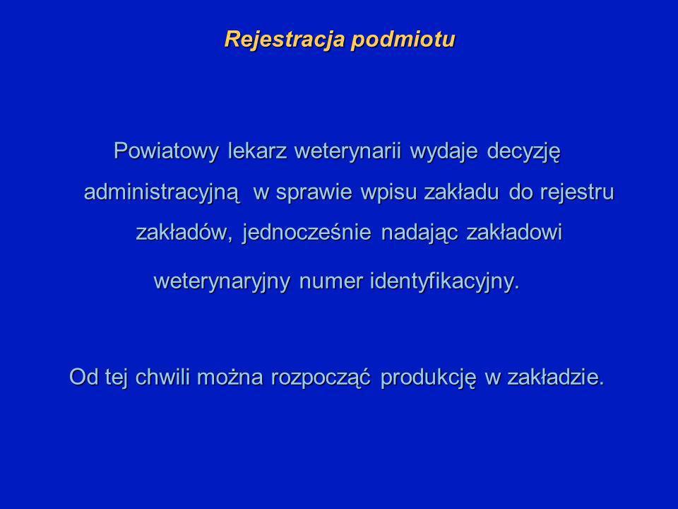 Rejestracja podmiotu Powiatowy lekarz weterynarii wydaje decyzję administracyjną w sprawie wpisu zakładu do rejestru zakładów, jednocześnie nadając za