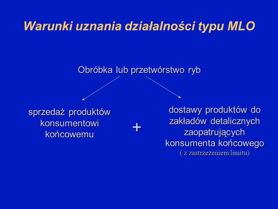 Warunki uznania działalności typu MLO Obróbka lub przetwórstwo ryb dostawy produktów do zakładów detalicznych zaopatrujących konsumenta końcowego ( z