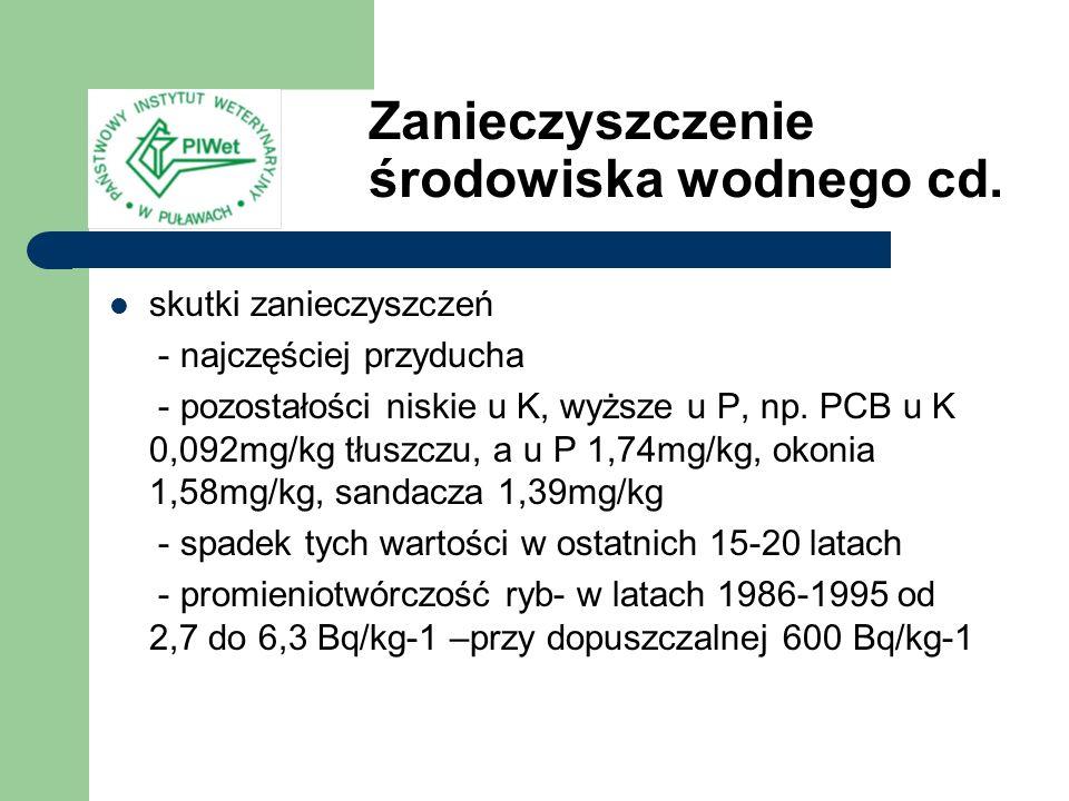 skutki zanieczyszczeń - najczęściej przyducha - pozostałości niskie u K, wyższe u P, np. PCB u K 0,092mg/kg tłuszczu, a u P 1,74mg/kg, okonia 1,58mg/k