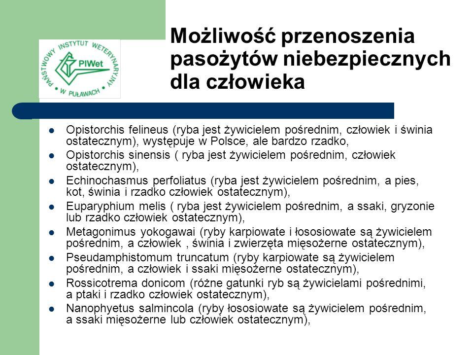 Opistorchis felineus (ryba jest żywicielem pośrednim, człowiek i świnia ostatecznym), występuje w Polsce, ale bardzo rzadko, Opistorchis sinensis ( ry