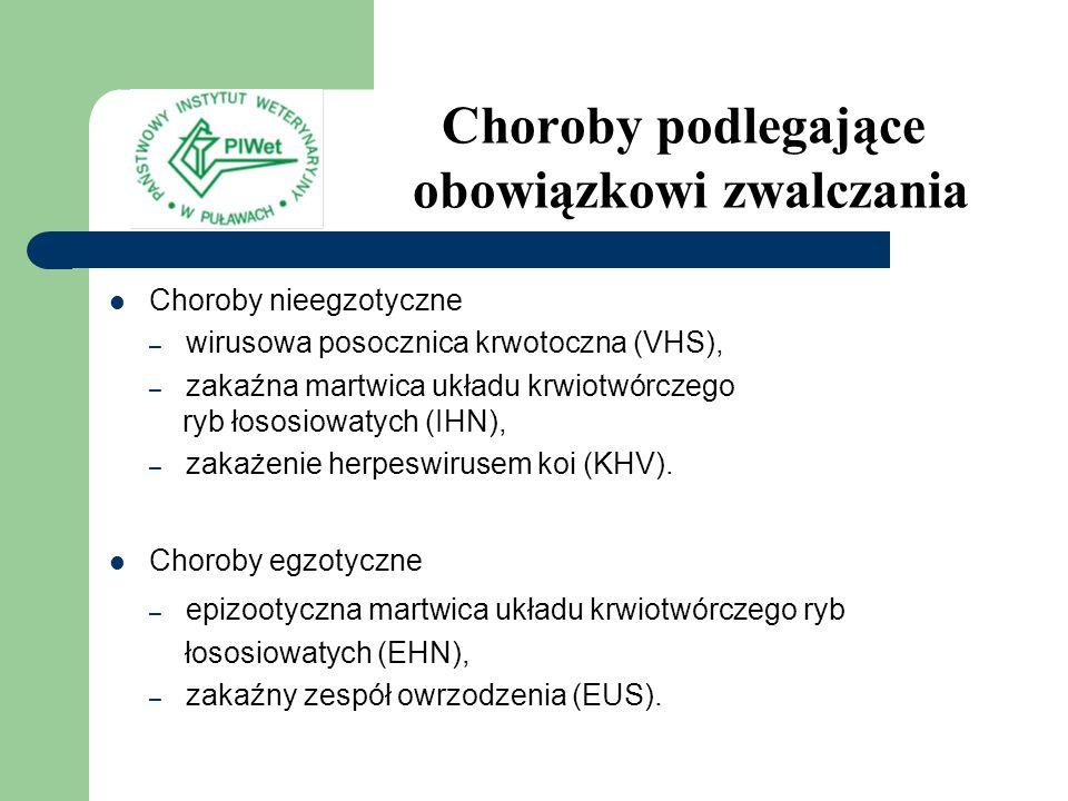 Choroby przebiegające z masowym śnięciem ryb, lecz nie podlegające obowiązkowi zwalczania jersinioza (ERM), bakteryjna choroba nerek (BKD), wibrioza, posocznica MAS, branchiomykoza (BM), przyducha, ichtioftirioza, daktylogyroza.