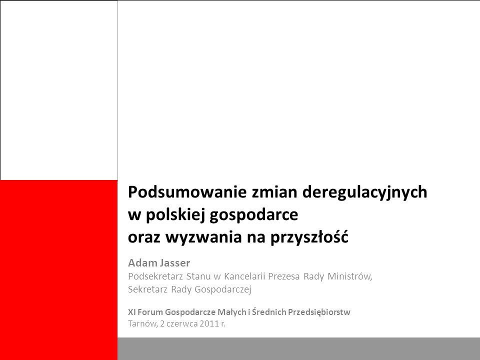 Biuro Rady Gospodarczej 1 Podsumowanie zmian deregulacyjnych w polskiej gospodarce oraz wyzwania na przyszłość Adam Jasser Podsekretarz Stanu w Kancelarii Prezesa Rady Ministrów, Sekretarz Rady Gospodarczej XI Forum Gospodarcze Małych i Średnich Przedsiębiorstw Tarnów, 2 czerwca 2011 r.