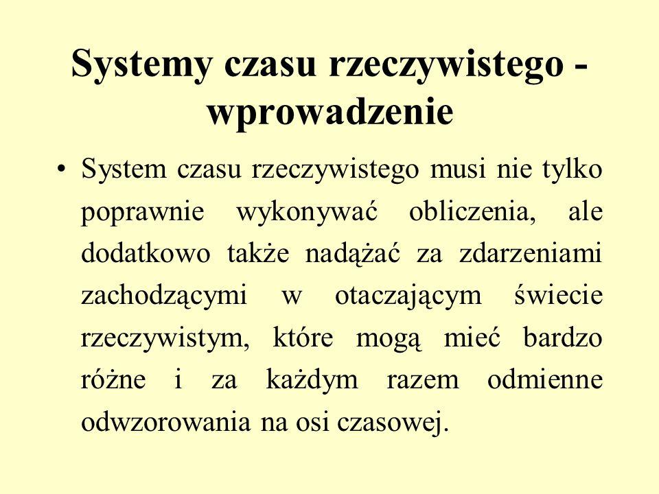 Systemy czasu rzeczywistego - wprowadzenie System czasu rzeczywistego musi nie tylko poprawnie wykonywać obliczenia, ale dodatkowo także nadążać za zd
