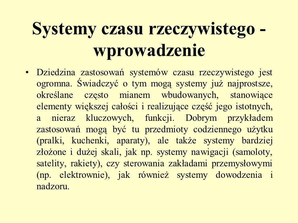 Systemy czasu rzeczywistego - wprowadzenie Dziedzina zastosowań systemów czasu rzeczywistego jest ogromna. Świadczyć o tym mogą systemy już najprostsz