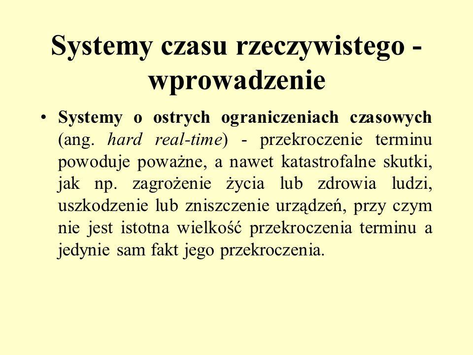 Systemy czasu rzeczywistego - wprowadzenie Systemy o ostrych ograniczeniach czasowych (ang. hard real-time) - przekroczenie terminu powoduje poważne,