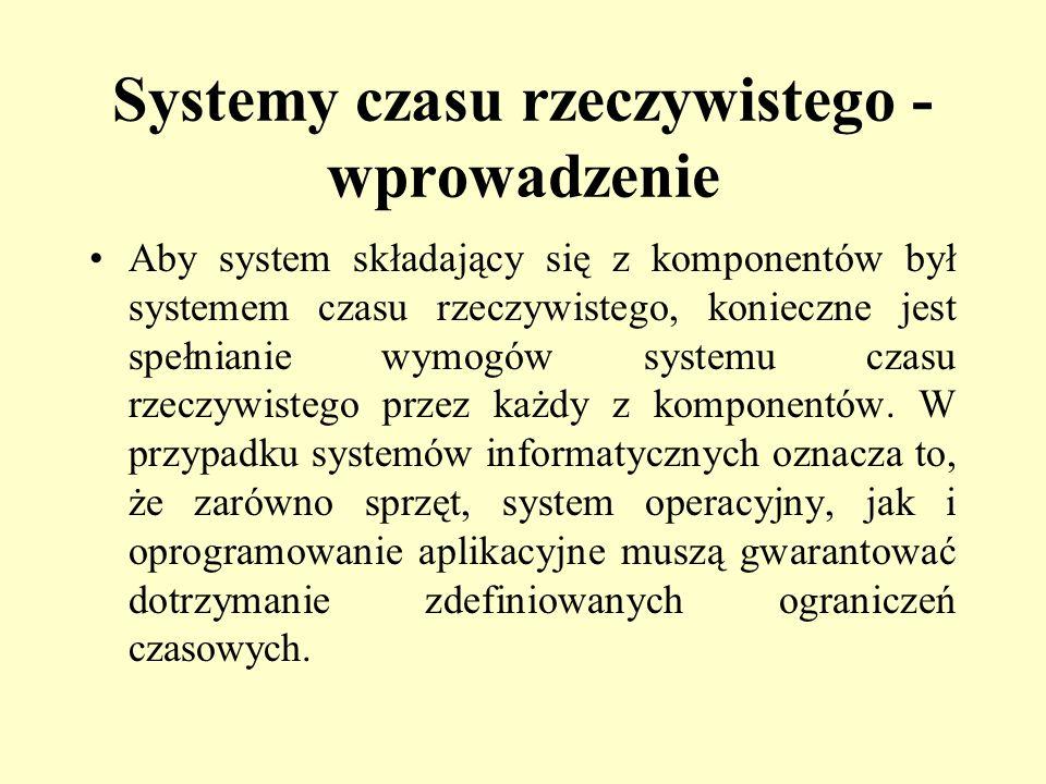 Systemy czasu rzeczywistego - wprowadzenie Aby system składający się z komponentów był systemem czasu rzeczywistego, konieczne jest spełnianie wymogów