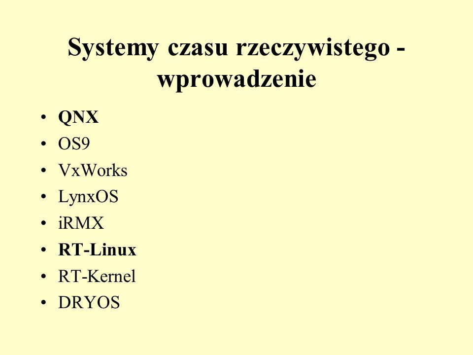 Systemy czasu rzeczywistego - wprowadzenie QNX OS9 VxWorks LynxOS iRMX RT-Linux RT-Kernel DRYOS