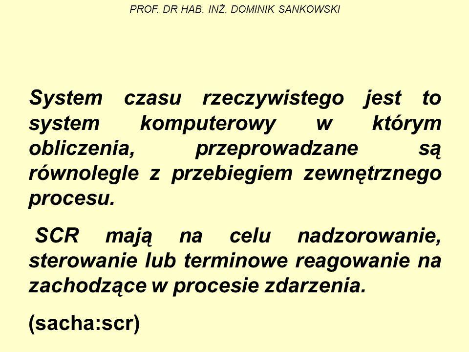 System czasu rzeczywistego jest to system komputerowy w którym obliczenia, przeprowadzane są równolegle z przebiegiem zewnętrznego procesu. SCR mają n