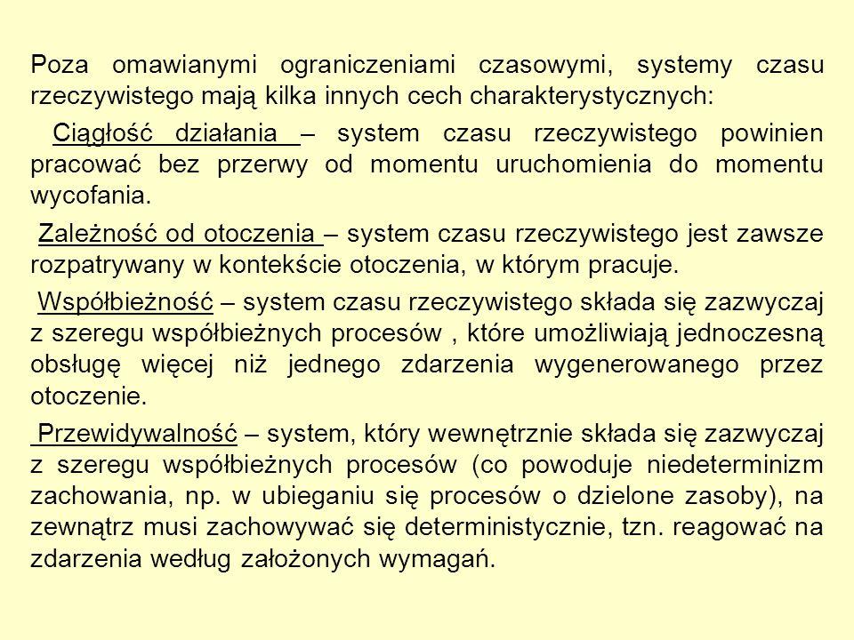 Poza omawianymi ograniczeniami czasowymi, systemy czasu rzeczywistego mają kilka innych cech charakterystycznych: Ciągłość działania – system czasu rz