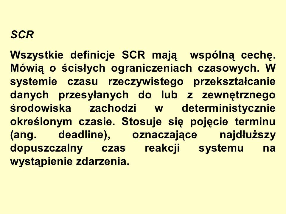SCR Wszystkie definicje SCR mają wspólną cechę. Mówią o ścisłych ograniczeniach czasowych. W systemie czasu rzeczywistego przekształcanie danych przes