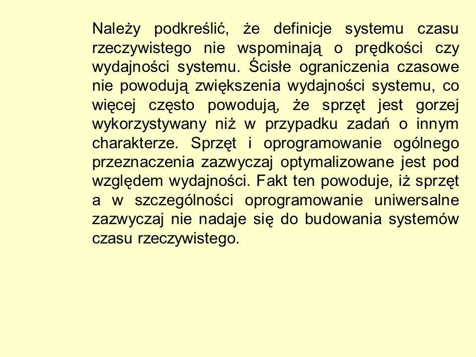 Należy podkreślić, że definicje systemu czasu rzeczywistego nie wspominają o prędkości czy wydajności systemu. Ścisłe ograniczenia czasowe nie powoduj