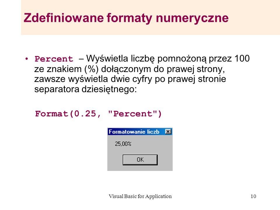 Visual Basic for Application10 Zdefiniowane formaty numeryczne Percent – Wyświetla liczbę pomnożoną przez 100 ze znakiem (%) dołączonym do prawej stro