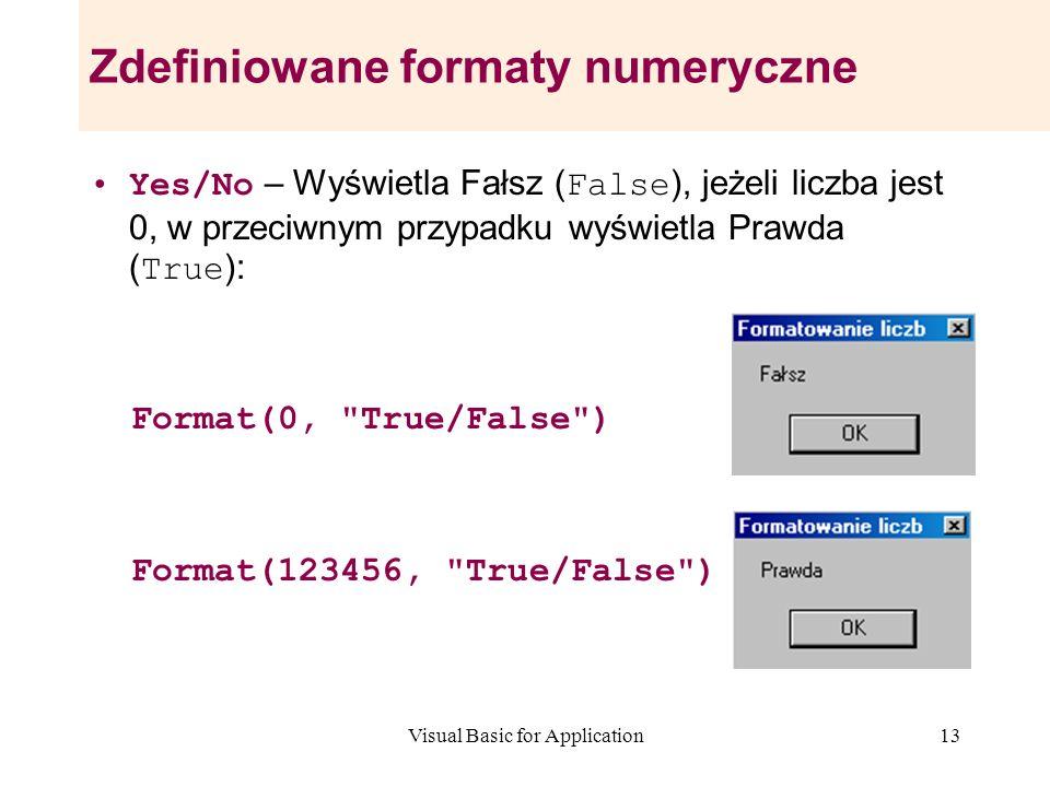 Visual Basic for Application13 Zdefiniowane formaty numeryczne Yes/No – Wyświetla Fałsz ( False ), jeżeli liczba jest 0, w przeciwnym przypadku wyświe