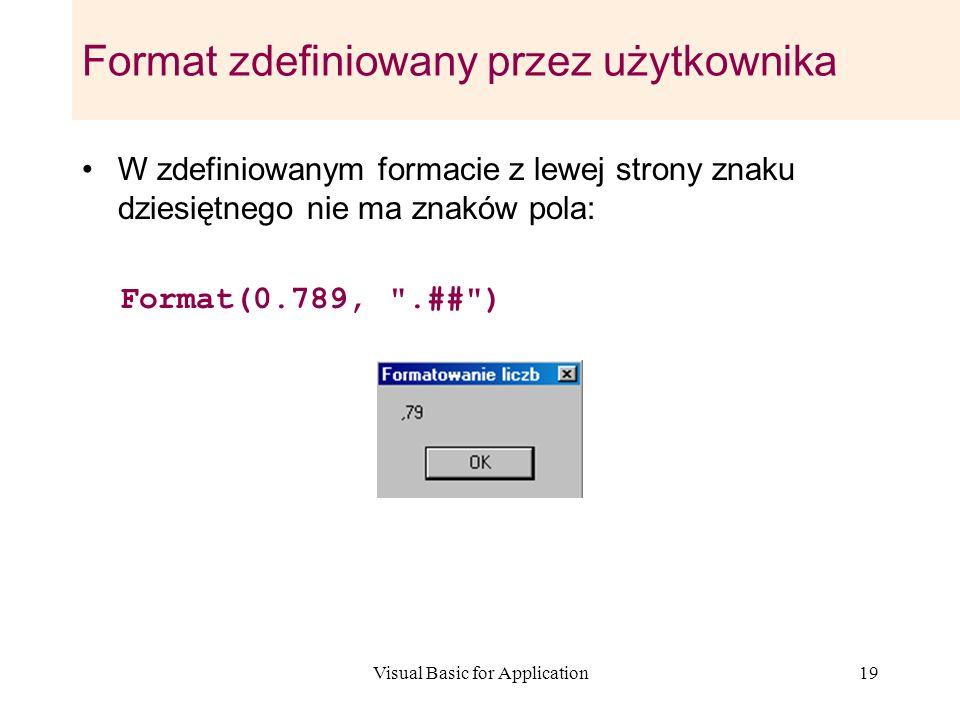 Visual Basic for Application19 Format zdefiniowany przez użytkownika W zdefiniowanym formacie z lewej strony znaku dziesiętnego nie ma znaków pola: Fo