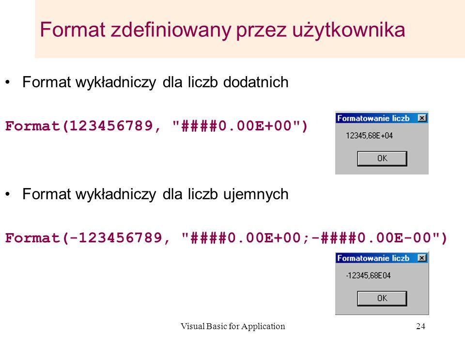 Visual Basic for Application24 Format zdefiniowany przez użytkownika Format wykładniczy dla liczb dodatnich Format(123456789,