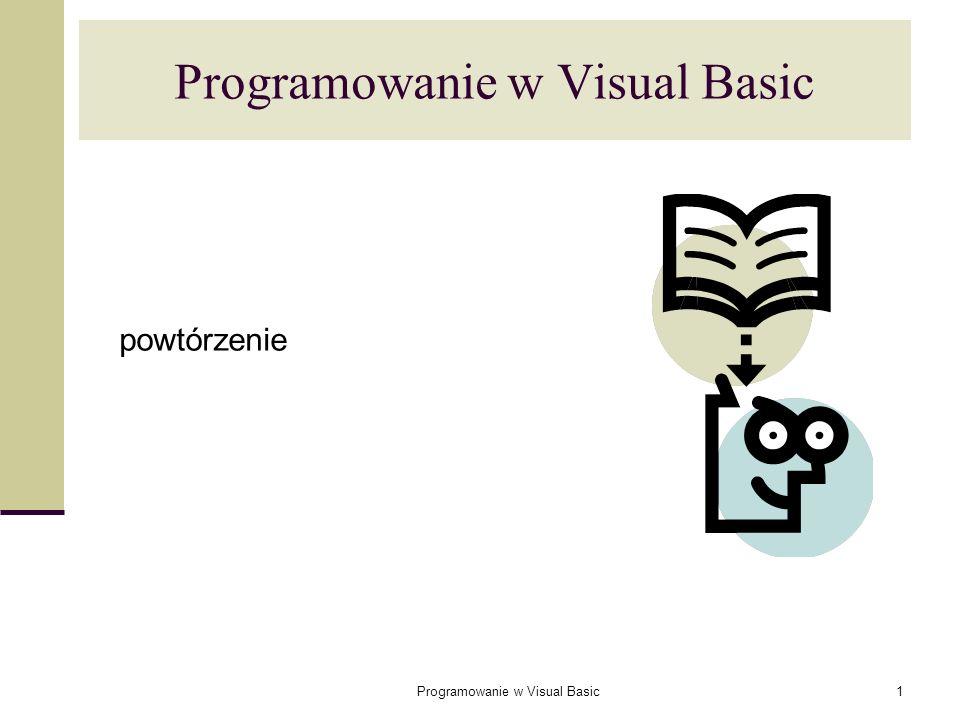 Programowanie w Visual Basic42 Argument może być przekazywany do procedury na dwa sposoby: ByRef – przez referencję (standardowo) – polega na przekazaniu adresu pamięci zmiennej; ByVal – przez wartość – polega na przekazaniukopii oryginalnej zmiennej.