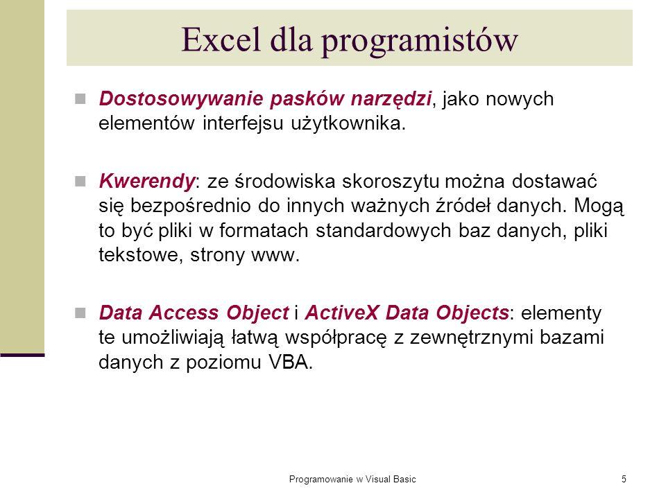 Programowanie w Visual Basic6 Excel dla programistów Rozbudowana możliwość zabezpieczania: utworzona aplikacja może zostać utajniona i zabezpieczona przed zmianami.