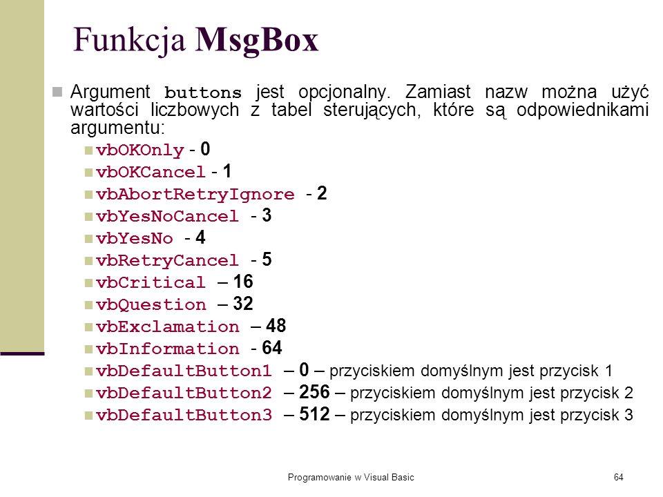 Programowanie w Visual Basic64 Funkcja MsgBox Argument buttons jest opcjonalny. Zamiast nazw można użyć wartości liczbowych z tabel sterujących, które