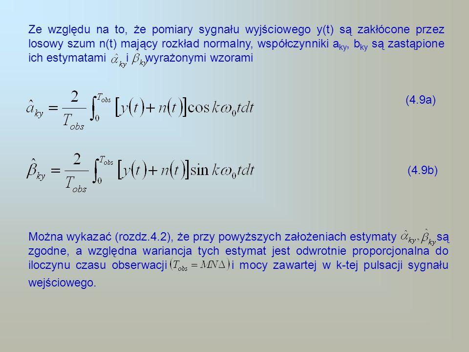 Ze względu na to, że pomiary sygnału wyjściowego y(t) są zakłócone przez losowy szum n(t) mający rozkład normalny, współczynniki a ky, b ky są zastąpi