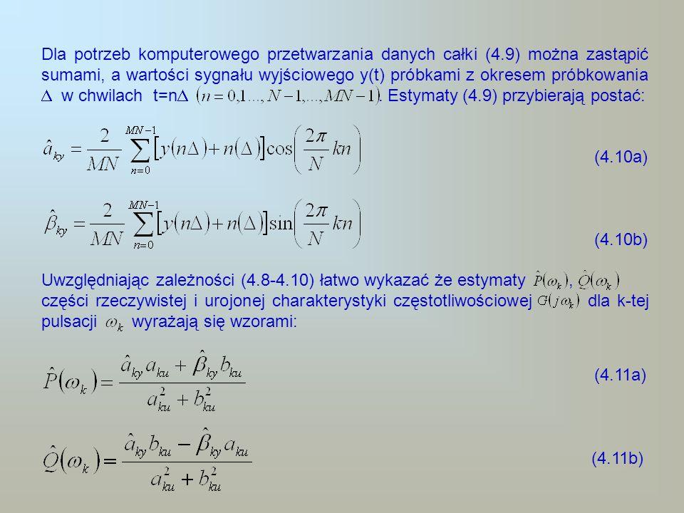 Dla potrzeb komputerowego przetwarzania danych całki (4.9) można zastąpić sumami, a wartości sygnału wyjściowego y(t) próbkami z okresem próbkowania w