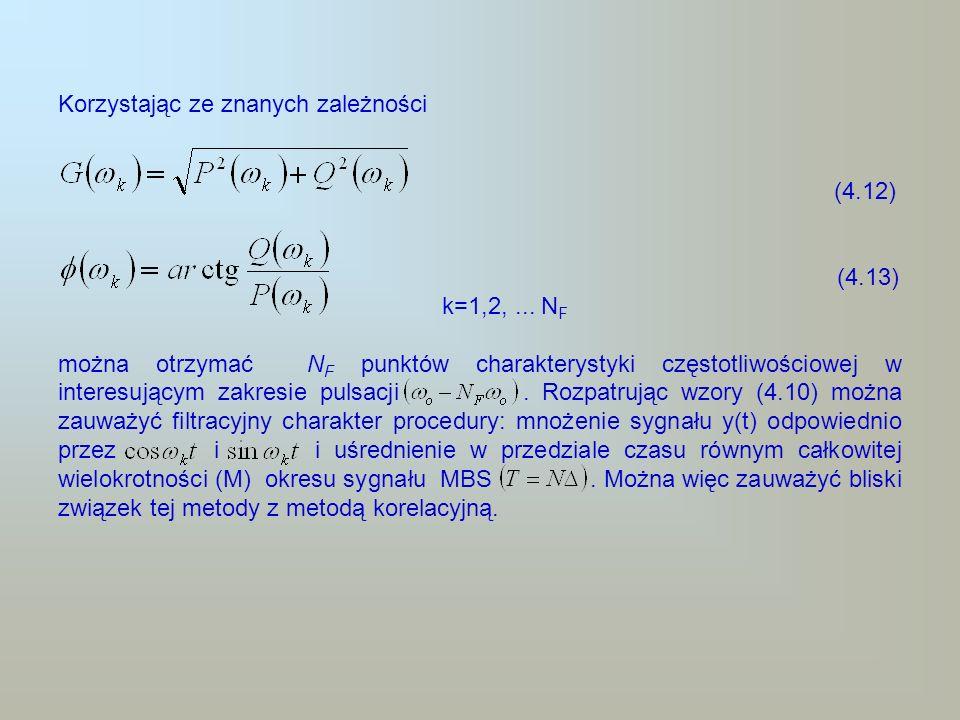 Stosując wzory (4.10) można punkt po punkcie obliczyć numerycznie bieżące sumy dla N F wartości pulsacji k jednocześnie w okresach jałowych komputera (pomiędzy operacjami kolejnego próbkowania sygnału wyjściowego).