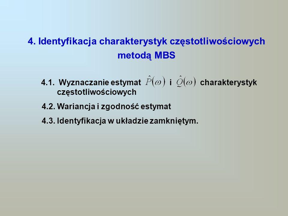 4. Identyfikacja charakterystyk częstotliwościowych metodą MBS 4.1. Wyznaczanie estymat i charakterystyk częstotliwościowych 4.2. Wariancja i zgodność