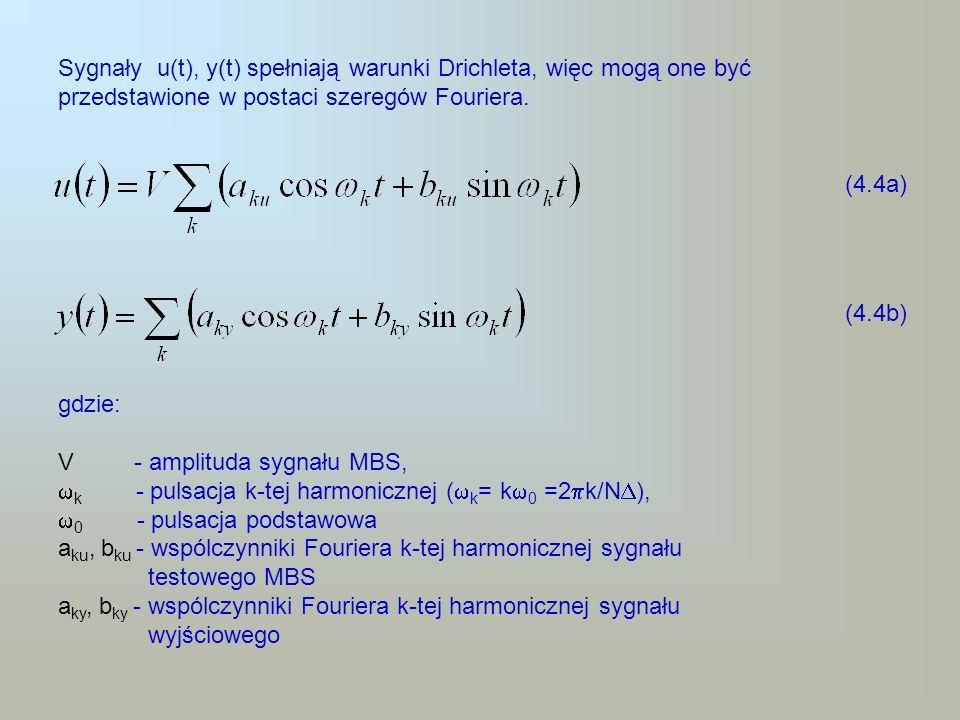 Sygnały u(t), y(t) spełniają warunki Drichleta, więc mogą one być przedstawione w postaci szeregów Fouriera. (4.4a) (4.4b) gdzie: V - amplituda sygnał