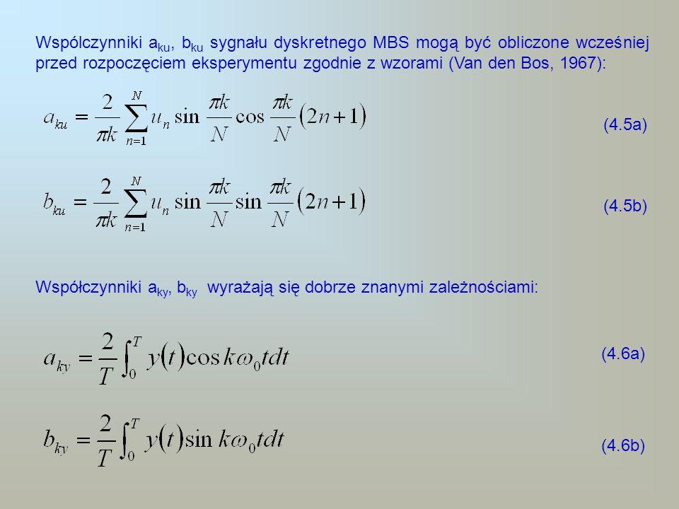 Wspólczynniki a ku, b ku sygnału dyskretnego MBS mogą być obliczone wcześniej przed rozpoczęciem eksperymentu zgodnie z wzorami (Van den Bos, 1967): (