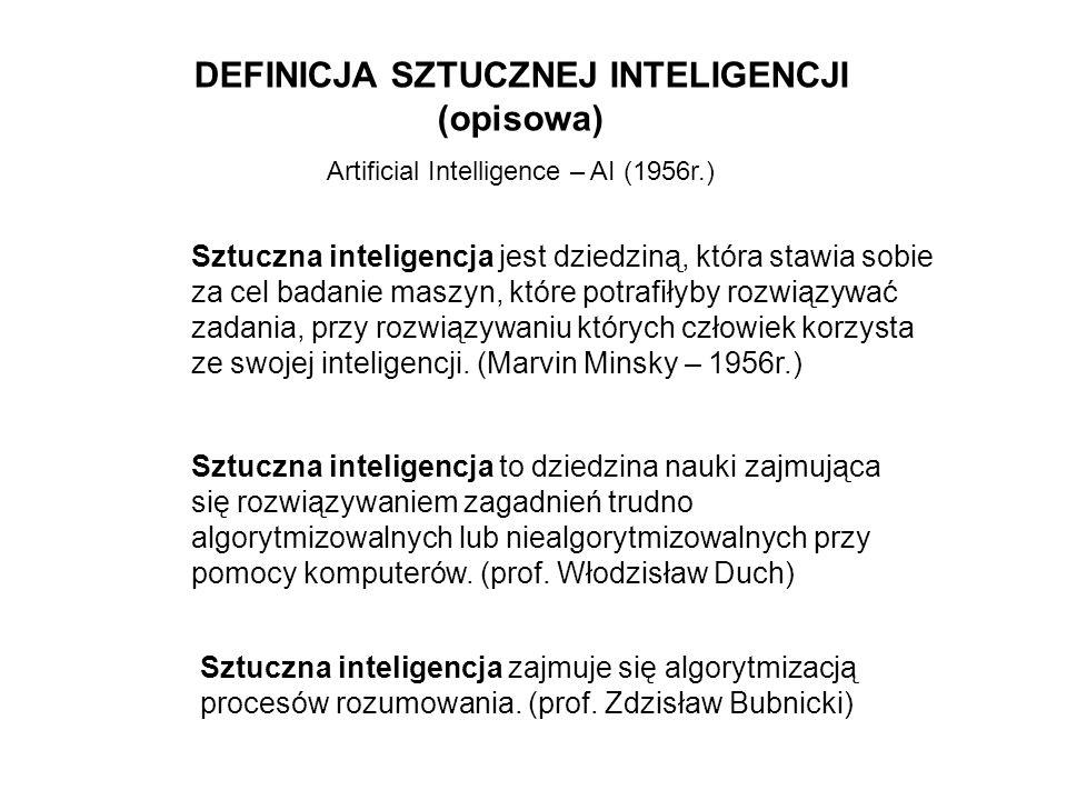 Sztuczna inteligencja jest dziedziną, która stawia sobie za cel badanie maszyn, które potrafiłyby rozwiązywać zadania, przy rozwiązywaniu których czło