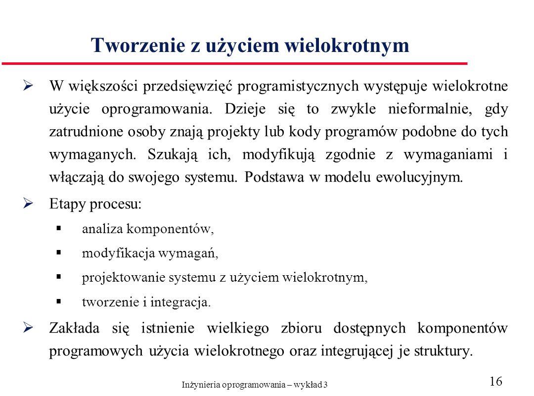 Inżynieria oprogramowania – wykład 3 16 Tworzenie z użyciem wielokrotnym W większości przedsięwzięć programistycznych występuje wielokrotne użycie oprogramowania.