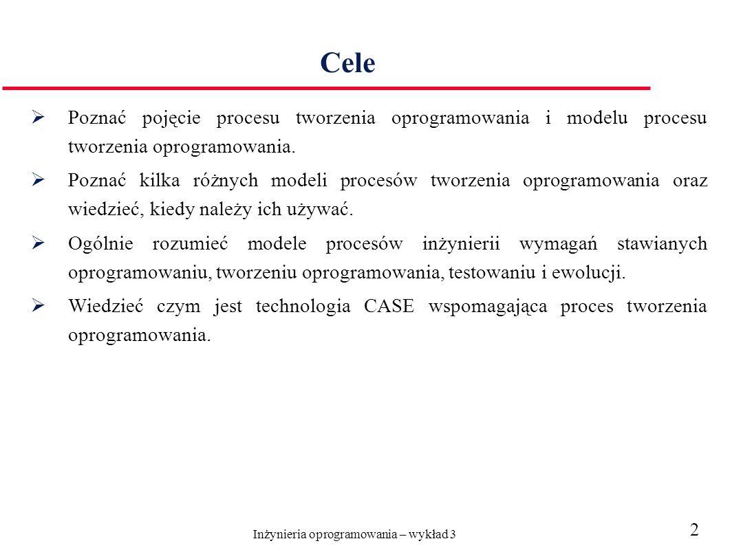 Inżynieria oprogramowania – wykład 3 2 Cele Poznać pojęcie procesu tworzenia oprogramowania i modelu procesu tworzenia oprogramowania. Poznać kilka ró