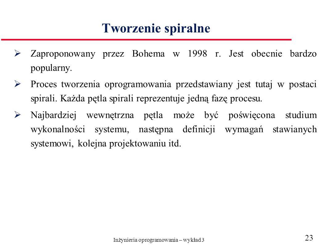 Inżynieria oprogramowania – wykład 3 23 Tworzenie spiralne Zaproponowany przez Bohema w 1998 r. Jest obecnie bardzo popularny. Proces tworzenia oprogr