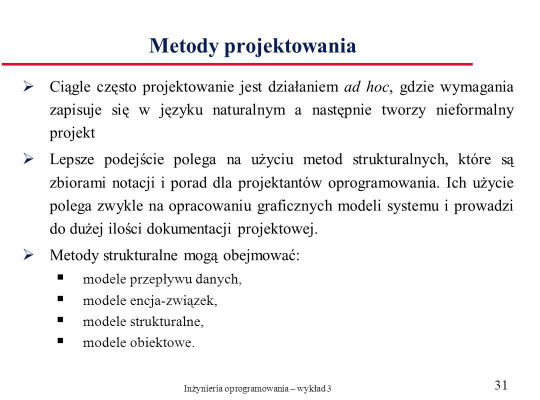 Inżynieria oprogramowania – wykład 3 31 Metody projektowania Ciągle często projektowanie jest działaniem ad hoc, gdzie wymagania zapisuje się w języku