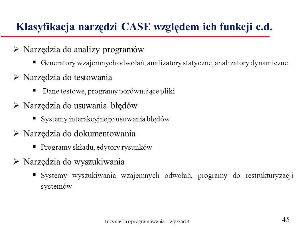Inżynieria oprogramowania – wykład 3 45 Klasyfikacja narzędzi CASE względem ich funkcji c.d. Narzędzia do analizy programów Generatory wzajemnych odwo